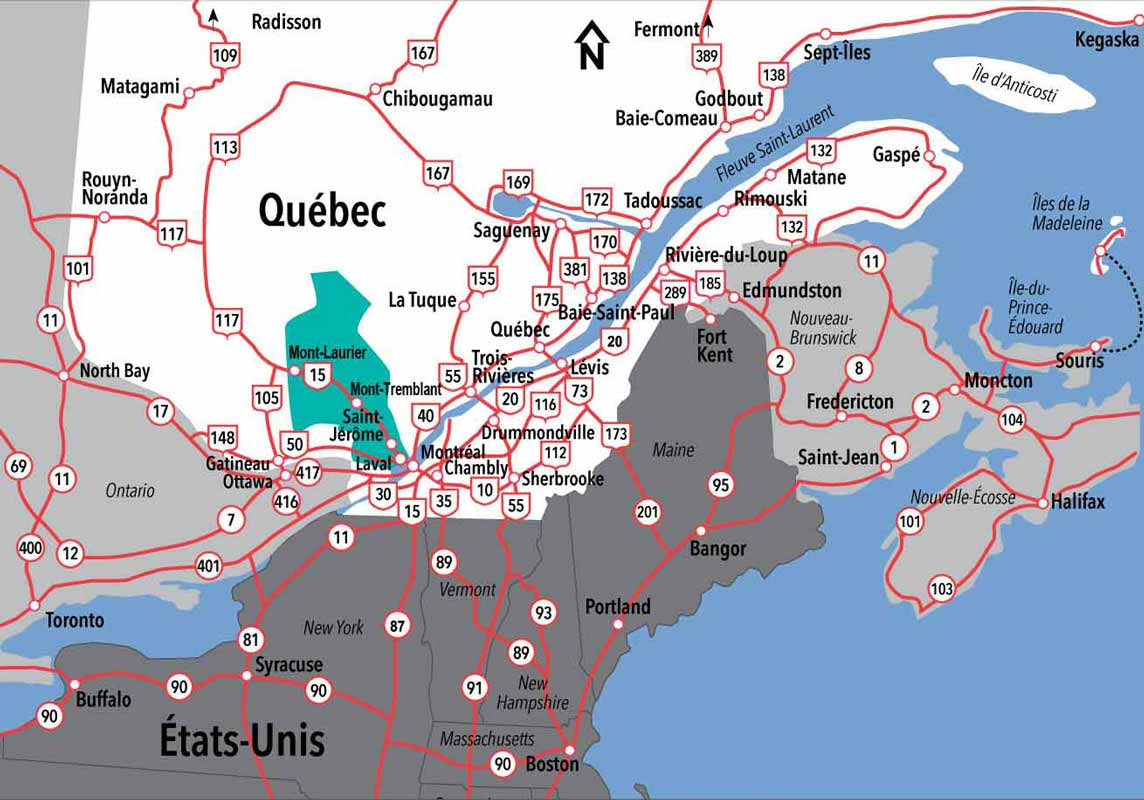 Map Of Canada Laurentian Mountains Tourisme Laurentides,