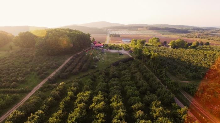 Vu aérienne de La Cabane à pomme Labonté de la pomme
