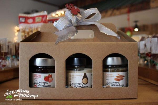 Boîte cadeau trio ;confiture avec touche d'érable, beurre d'érable et caramel à l'érable; Emballages cadeaux - Maple product gift wrappings
