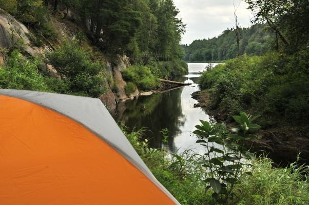 tent along the Rivière Rouge