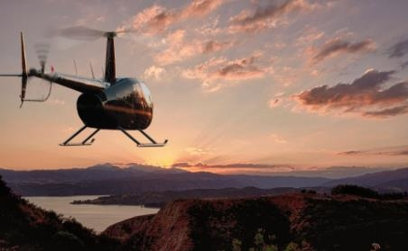 Vol en hélicoptère et prise des commandes
