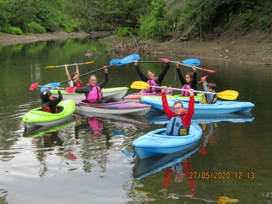 Family kayak day, all you need is swim wear and a picnic lunch