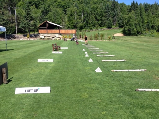 Driving range can accomodate up to 35 golfers (includes target practice, 4 greens, sand traps, etc.)